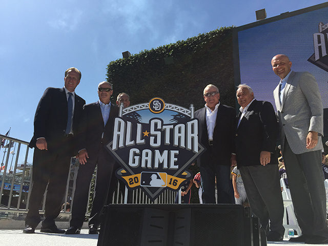 Photo of Mayor Faulconer at the Unveiling of the All Star Game Logo