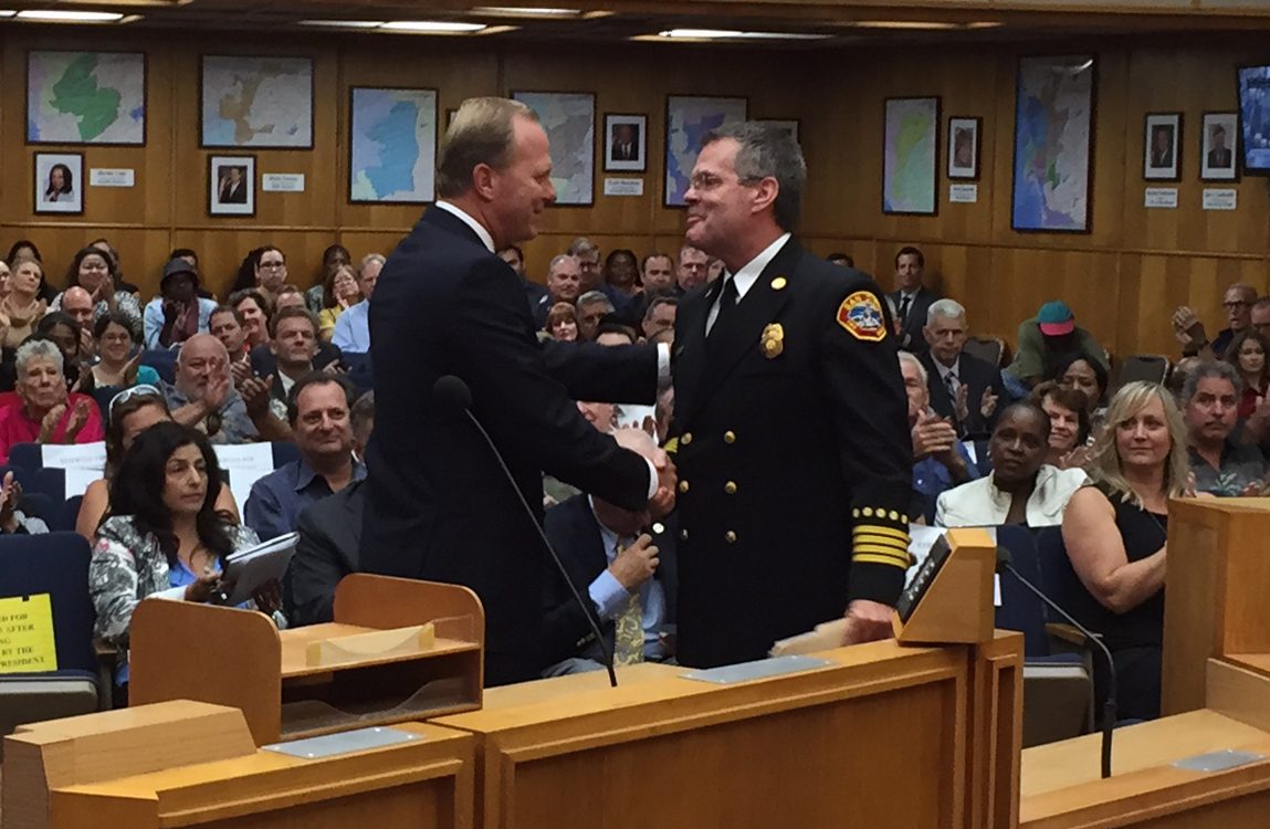 Photo of Mayor Faulconer presenting his nomination of  Brian Fennessy