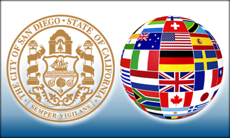 Collage of San Diego city seal and international flags