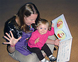 Photo of mom practicing baby sign language with daughter at Tierrasanta Branch Library