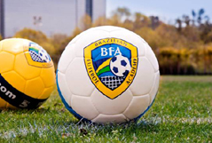Photo of soccer ball with BFA Logo