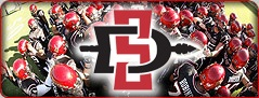 Image of SDSU Aztecs Logo and Football Players