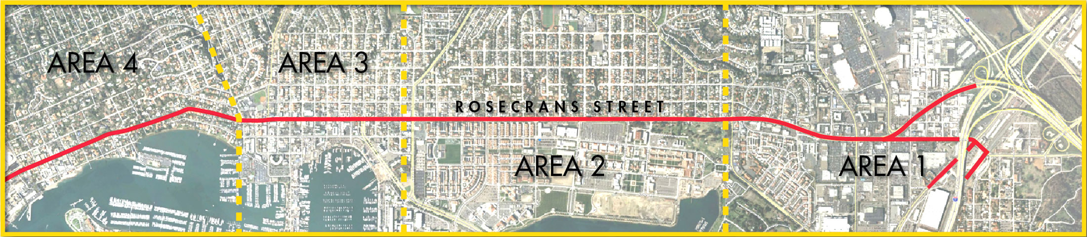 Map of four zones within the Rosecrans Corridor