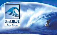 Collage of Think Blue Logo and Surfer