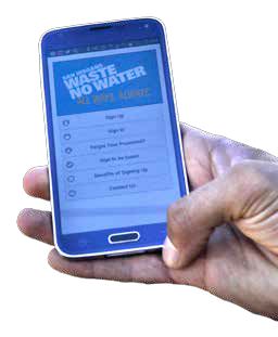 Photo of Waste No Water Website on Mobile Phone