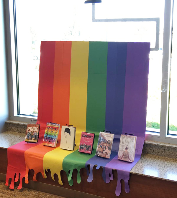 Photo of Pride Month display of library books