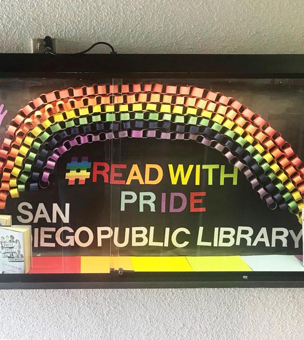 San Diego Library Pride Month Display