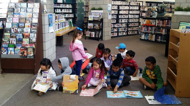 Children participating in a program at the Linda Vista Library