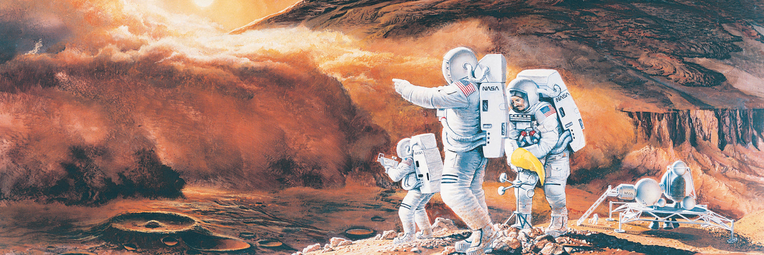 Illustration of people on the planet Mars.