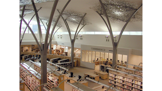 Overhead view of the interior inside the Mission Valley Library