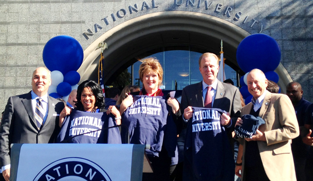 Photo of Mayor Kevin L. Faulconer in front of National University