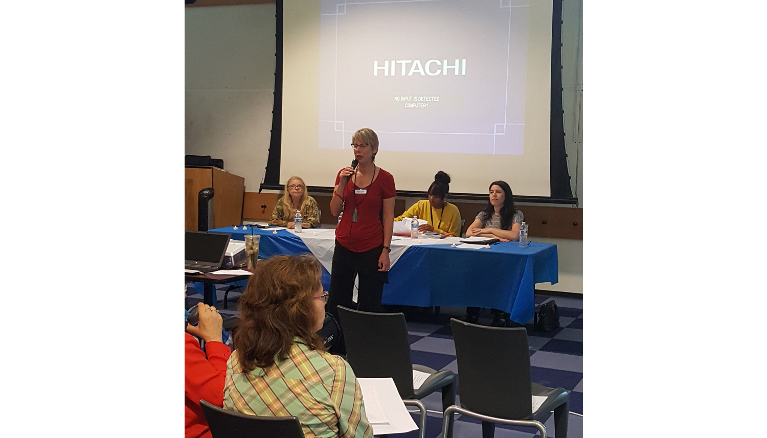 Photo of Branch Manager, Barbara Schwartz, kicking-off a community event held at the Mira Mesa Library.