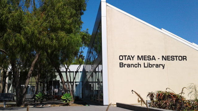 Otay Mesa-Nestor Library signage located adjacent to the patio
