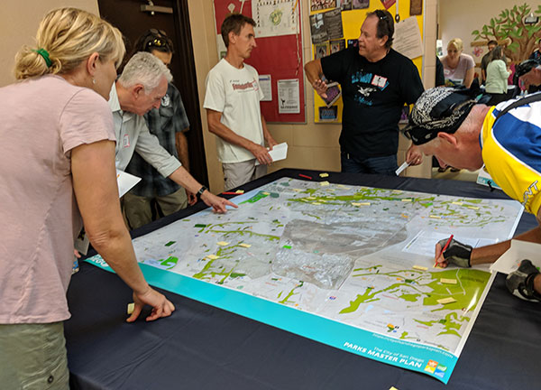 Community members participating in a park planning workshop