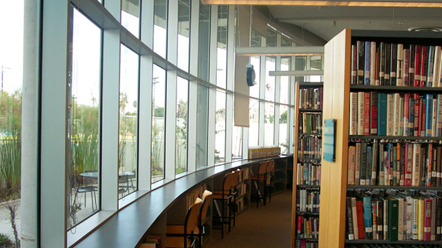Reading area inside the Pacific Beach/Taylor Library