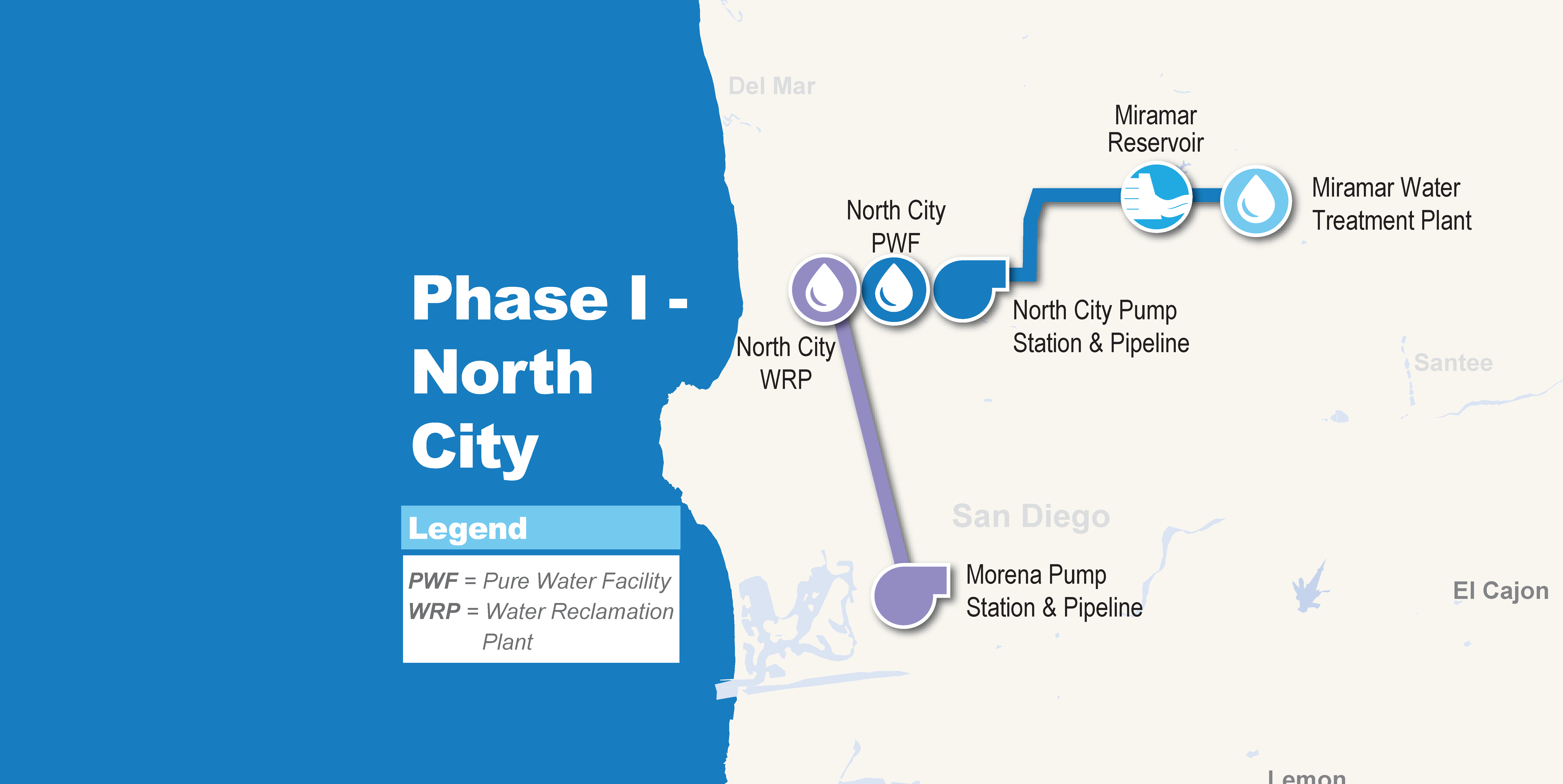 Pure Water San Diego Phase 1 Projects Map