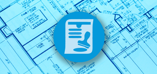 Blueprint overlayed with an icon depicting a permit