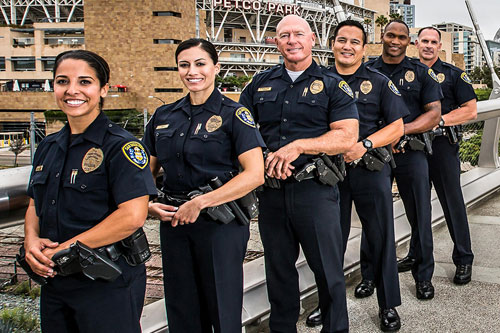 Photo of diverse group of San Diego police officers
