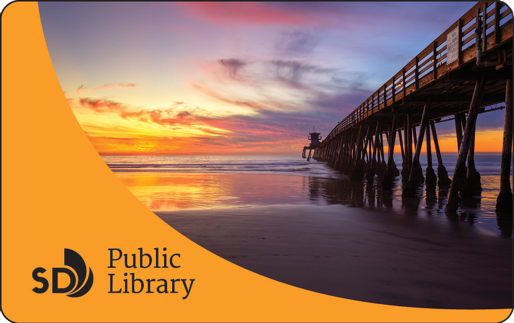 Photo of library card with ocean pier
