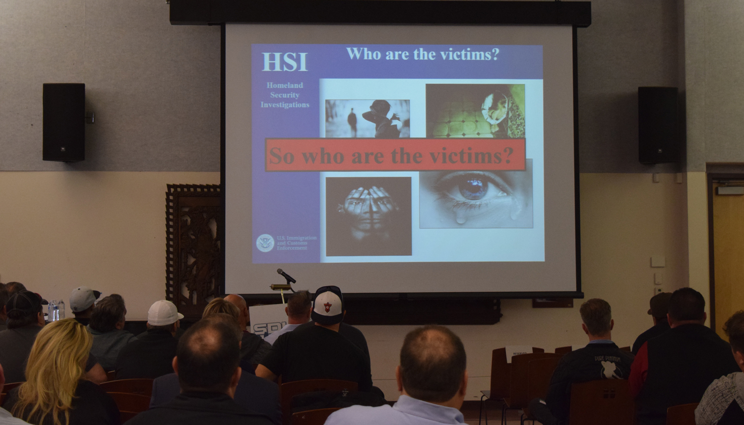 Photo of a presentation slide at the U.S. Department of Homeland Security Training:  Raising Awareness on Human Trafficking at the Logan Heights Library.
