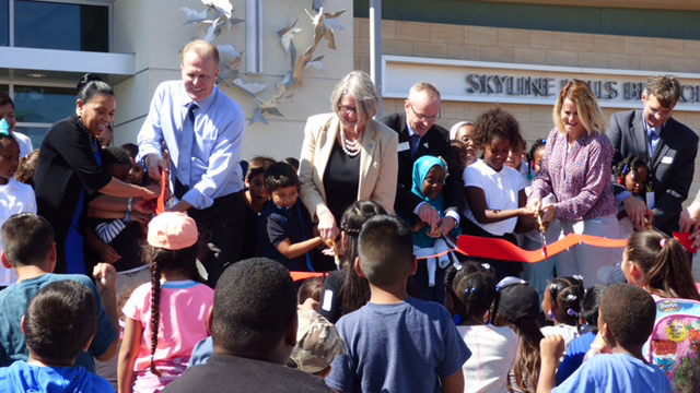 Ribbon cutting at the opening of the Skyline Hills Library