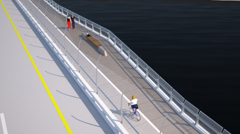 A rendering of the proposed bike path on the West Mission Bay Drive Bridge.