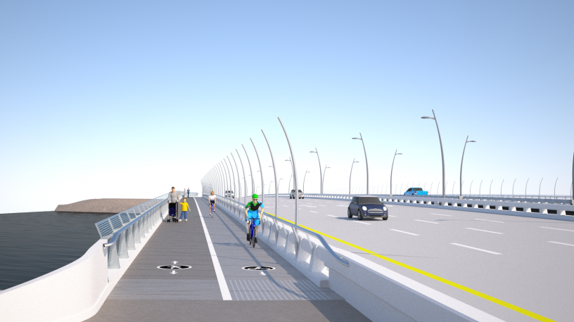 A rendering of the proposed bikepath for the West Mission Bay Drive Bridge.