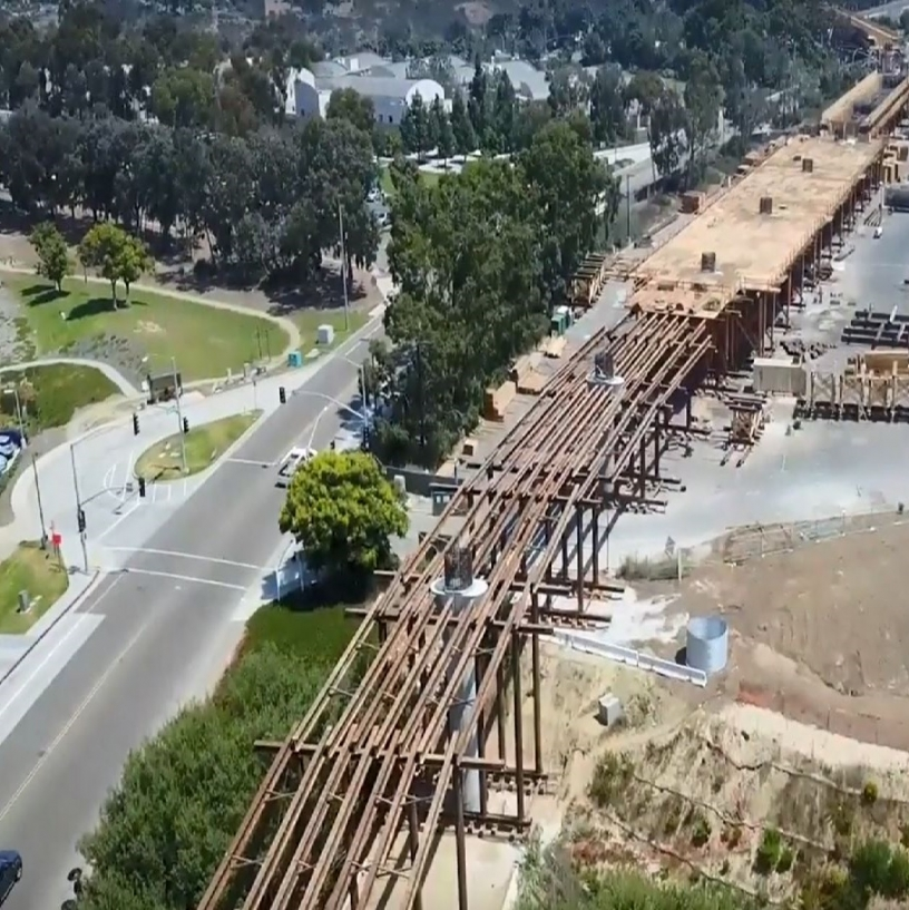 Mid-Coast Trolley UCSD Station under construction