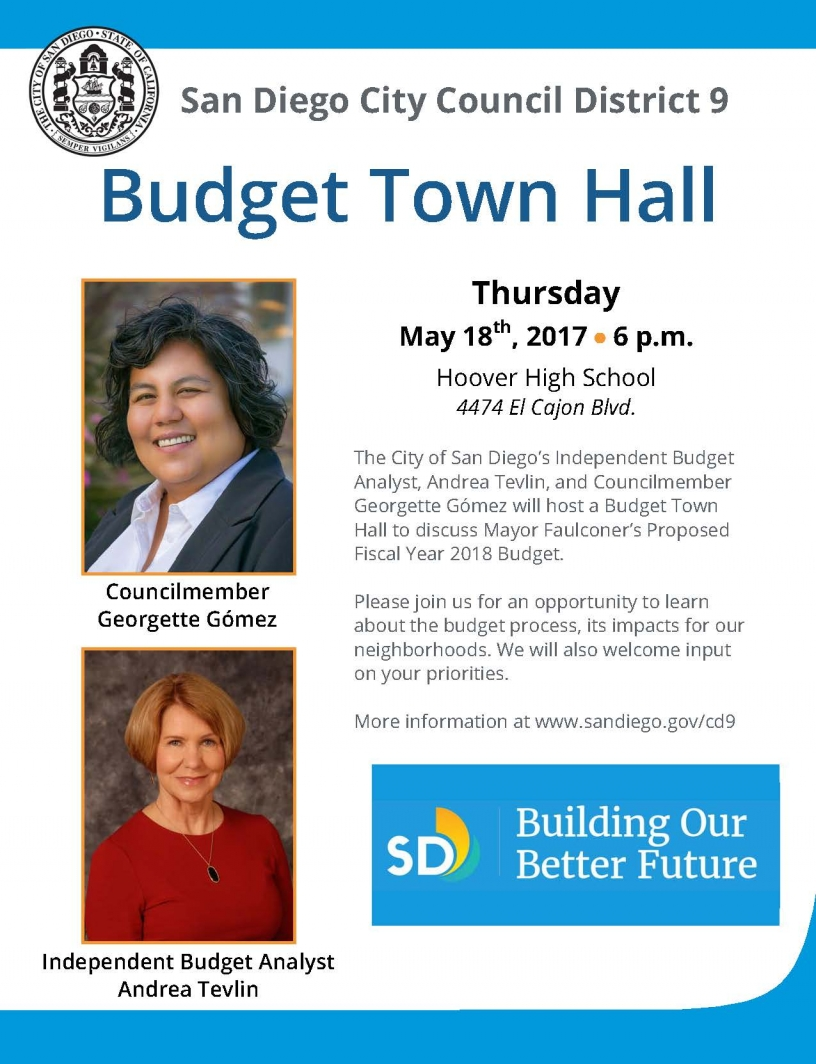 Flyer for District 9 Budget Town Hall Meeting
