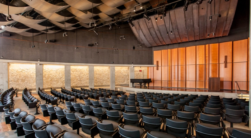 Photo of the interior of the Neil Morgan Auditorium at the Central Library.