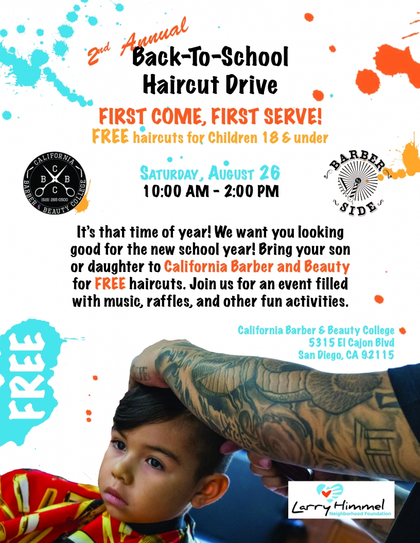 Flyer for free back to school haircuts on August 26th, 2017 from 10 AM to 2 PM.