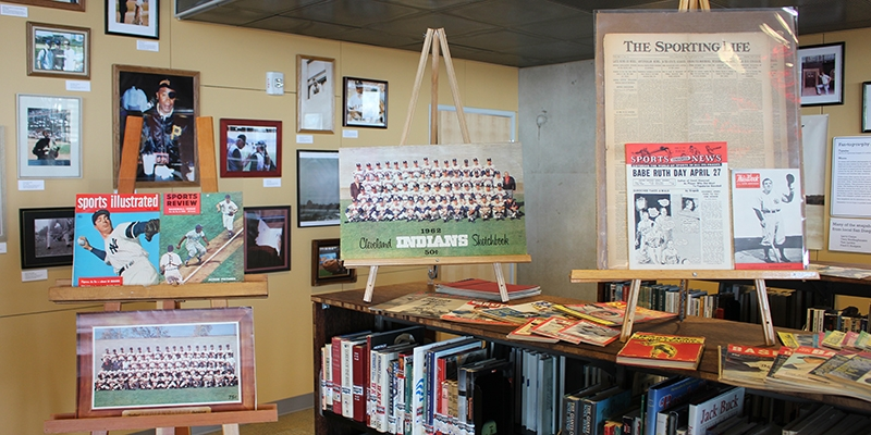 Baseball Research Center display