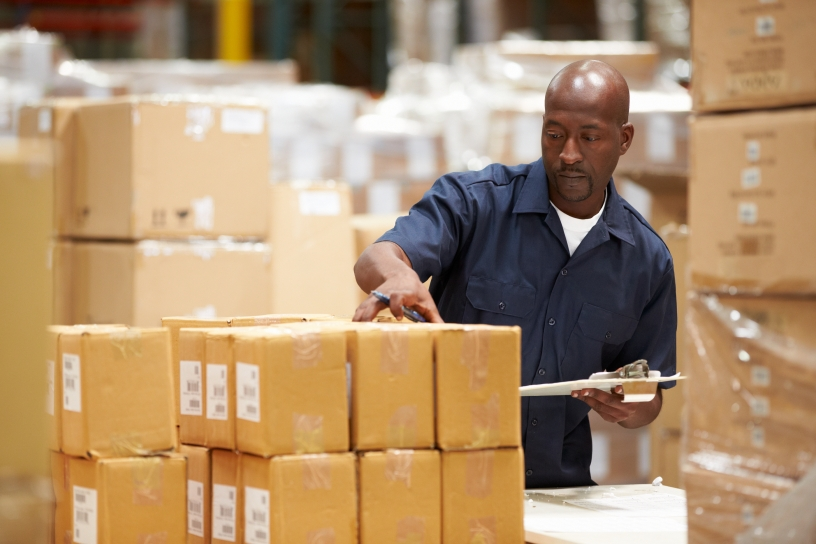 Stock worker in warehouse