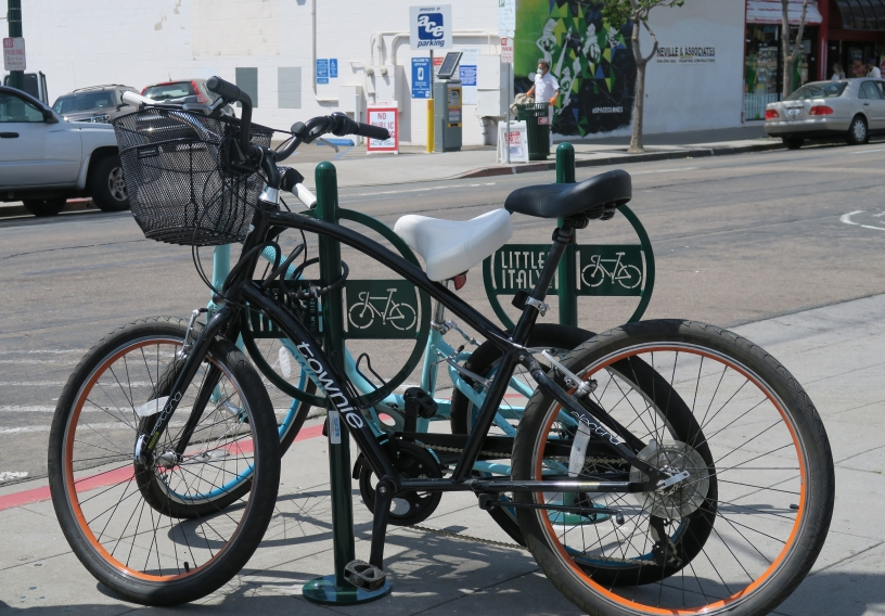 bike rack in Little Italy