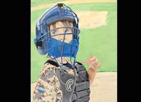 Painting of child in baseball gears by Jesse Amaro.