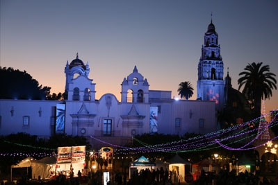 Twilight at Balboa Park during December Nights