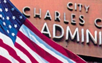 Photo of City Administration Building and Flag
