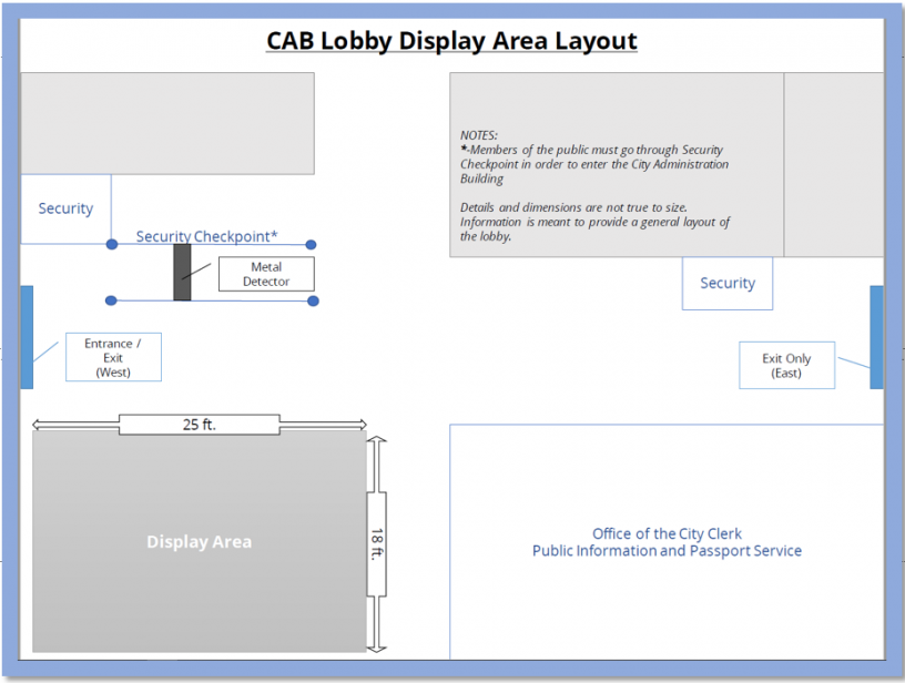 cab lobby display area layout