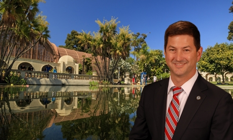 Photo of Botanical Building at Balboa Park and Councilmember Chris Ward