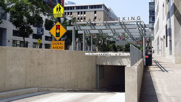 Photo of Central Library parking entrance