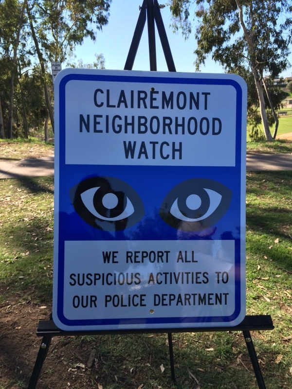 Clairemont Neighborhood Watch sign