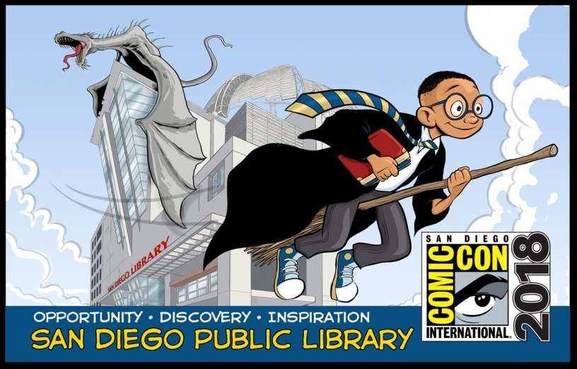 Special edition 2018 Comic Con library card with young wizard and dragon.