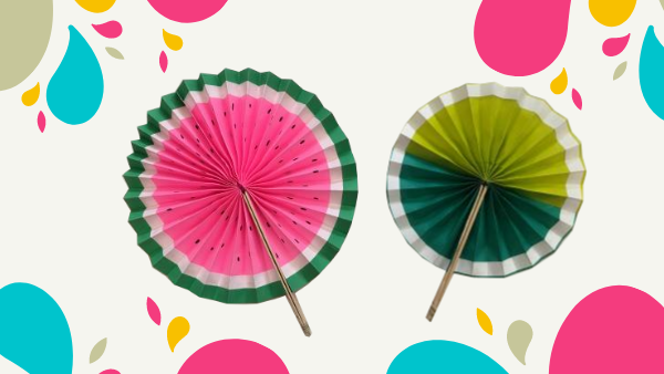 Image of two paper circular fans with fruit shaped