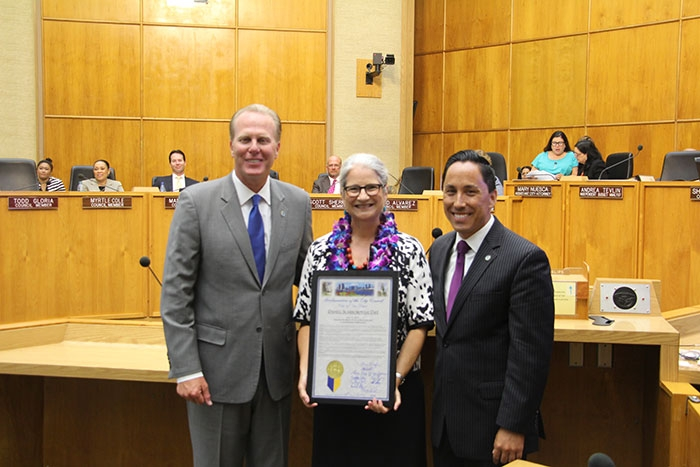 Photo of Dr. Danell Scarborough with Mayor Kevin Faulconer and Councilmember Todd Gloria