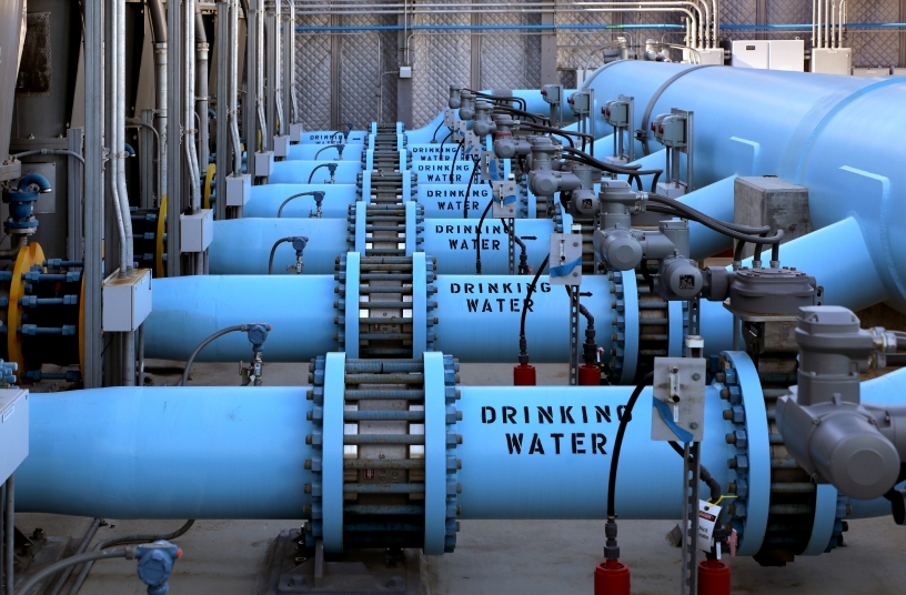 pipes in desalination plant