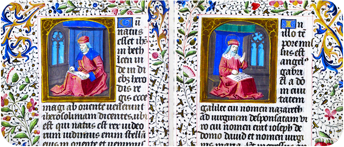 Two illuminated pages from a manuscript
