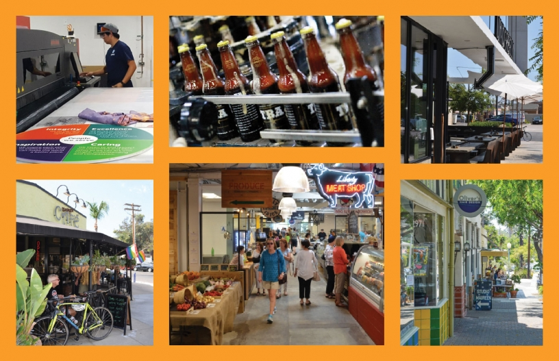 Photo collage of businesses in San Diego