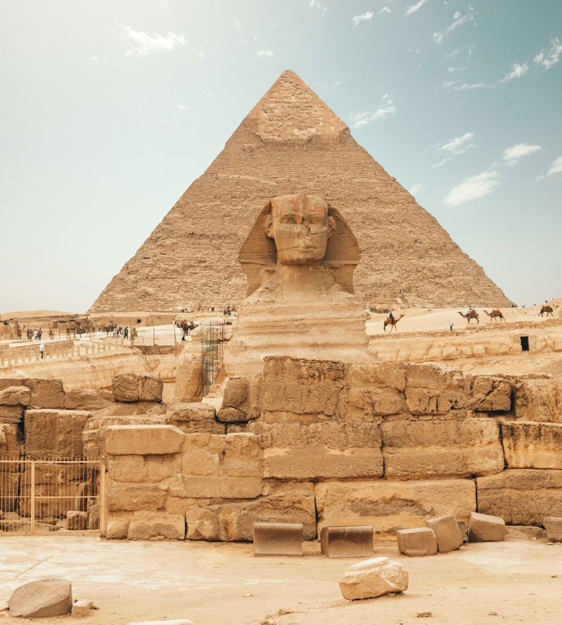 Photo of pyramid and sphinx in Egypt