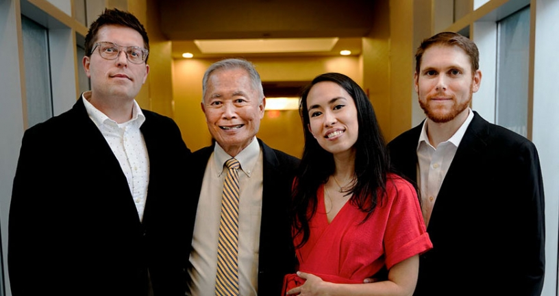 (L-R) Justin Eisinger, George Takei, Harmony Becker, Steven Scott | Photo: Jon Ortiz