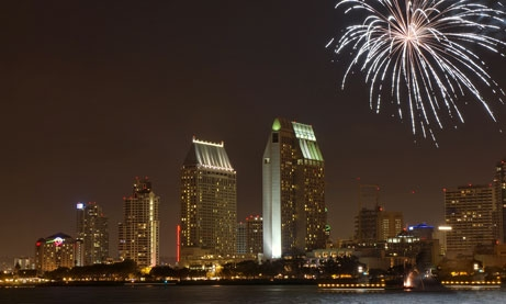 Photo of fireworks over downtown San Diego